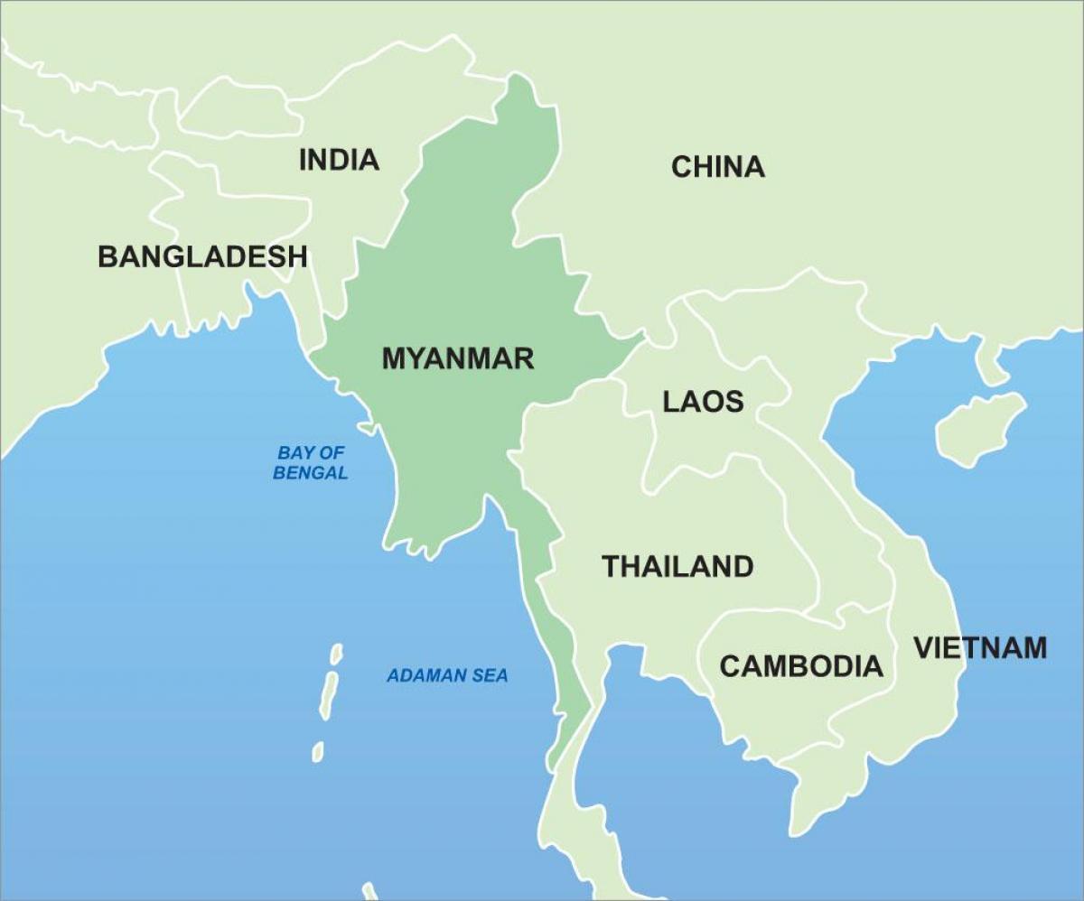 Myanmarin Kartan Yksityiskohta Myanmar On Aasian Kartta Etela
